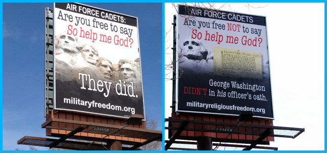 "TRUTHOUT, DAILY KOS, ALTERNET - MRFF faces off against the misleadingly named, Christian fundamentalist ""Restore Military Religious Freedom"" Coalition in billboard battle at USAFA's doorstep"