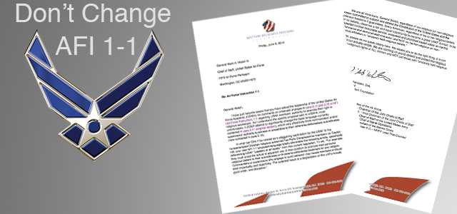 "An Open Letter from MRFF Founder and  President Michael L. ""Mikey"" Weinstein  to the U.S. Air Force Chief of Staff. Also Letters from Allies that Have Joined Forces w/ MRFF to Prevent the Demise of AFI 1-1 as is."