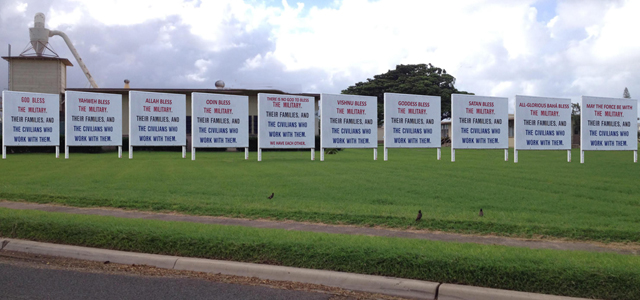 "It has been over four months since the Military Religious Freedom Foundation (""MRFF"") demanded that you either move the ""God Bless The Military""  sign currently on Marine Corps Base Hawaii (""MCB Hawaii"") to the chapel area or..."