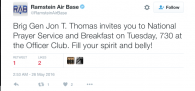 Tweet dated May 26, 2016. The content regarding a prayer service and breakfast was in violation [...]