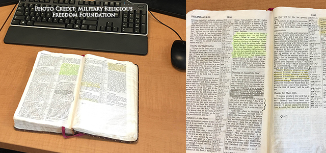 A religious freedom organization is calling upon the Defense Department Inspector General's Office to investigate an officer who left a Bible open in display upon his desk, and his superiors.