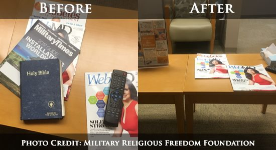 On behalf of the Military Religious Freedom Foundation's (MRFF) veteran clients, MRFF is sincerely thankful for the prompt removal of the New Testament Bible from the Mental Health Clinic's waiting room by the staff at Chillicothe...