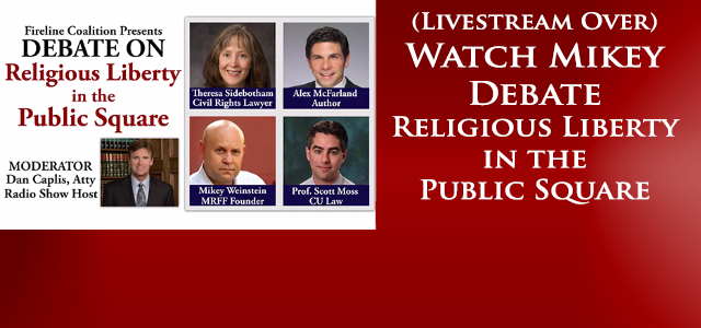 """Michael L. """"Mikey"""" Weinstein, Founder and President of the Military Religious Freedom Foundation (MRFF), traveled to Denver and joined a distinguished panel for a fervent debate on..."""