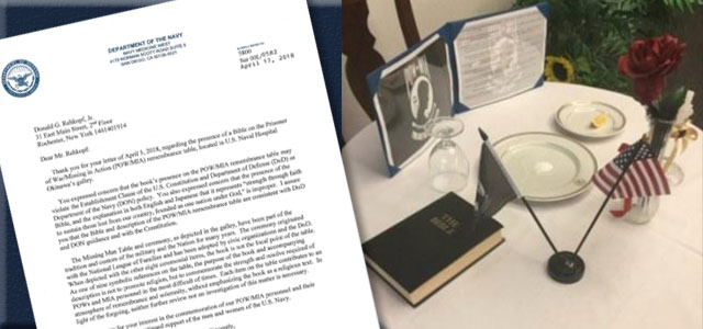 U.S. Navy REFUSES MRFF's Demand to Remove Christian Bible from  POW/MIA Memorial Table at  U.S. Naval Hospital on Okinawa...