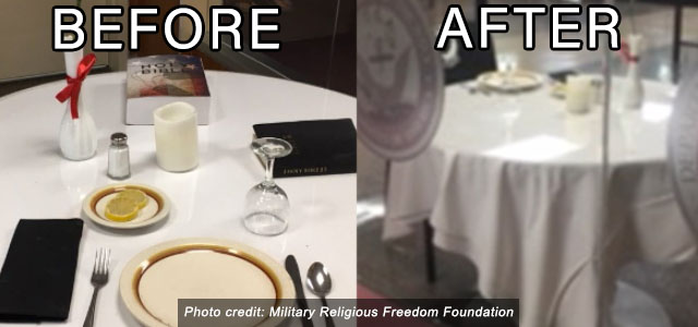 MRFF's Persistence leads to Buffalo, New York's VA Medical Center Removing Unauthorized Bibles From POW/MIA Table!