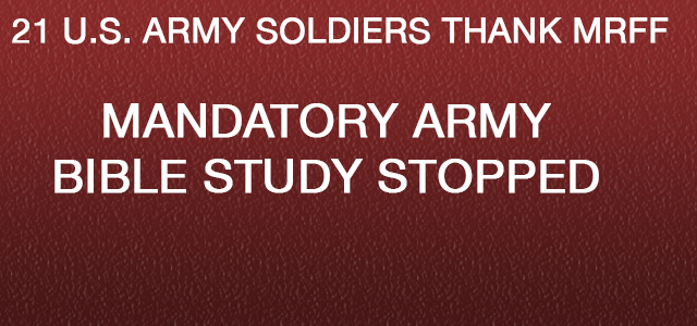 We who are the soldiers of the (military unit and various military sub-units withheld) at Fort (U.S. Army installation name withheld) would like to thank you for the good material on your website about how military supervisors can't force their junior ranking soldiers...