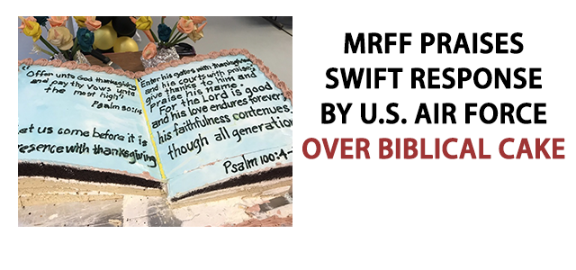 A Biblical cake, decorated with the Psalms (50:14, 100:4-5), and in the shape of a Bible, was shamefully on display at Al Udeid Air Base in Qatar for Thanksgiving!