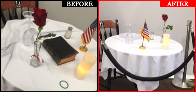 In less than 3.5 hrs, Veterans Administration Medical Center (New Hampshire) responded to MRFF, agreeing to do the right thing by removing unconstitutionally displayed Bible on POW/MIA table in main entrance/front foyer! Click to read more.