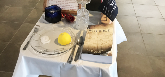 """The display of a Bible with the POW/MIA table is utterly revolting for 2019. As a retired Army Colonel (26 years) and 100% disabled Veteran, I walked by this display at the VA OMAHA Clinic today (Friday, 5 APR 2019). It is upsetting that this display excludes so many of other faiths or non-faith..."