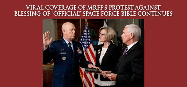 """The newest branch of the military … is no longer just a figment of Donald Trump's imagination, but it doesn't do anything, either. It does, however, possess an official Bible …"" Click to read"