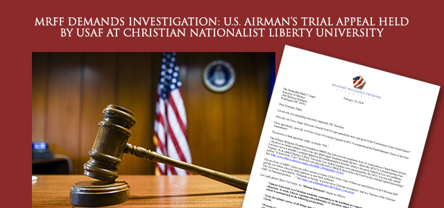 """No trial of any U.S. court should use as its venue a law school that espouses a Christian nationalist interpretation of the law in which our nation's laws are founded on the Bible. …"" Click to read"