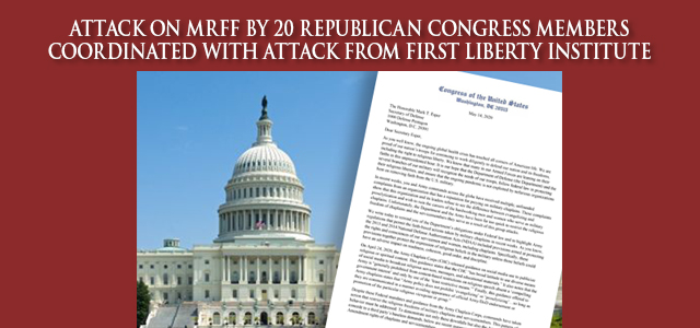 """20 Christian nationalist members of Congress have written a letter to Secretary of Defense Esper attacking MRFF's recent victories … as 'persecution' of Christians.…""  Click to read"