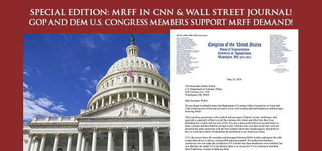 """In support of MRFF's demand that the swastika gravestones be removed top lawmakers FROM BOTH PARTIES in the House Committee on Appropriations and its Subcommittee on Military Construction..."" Click to read"