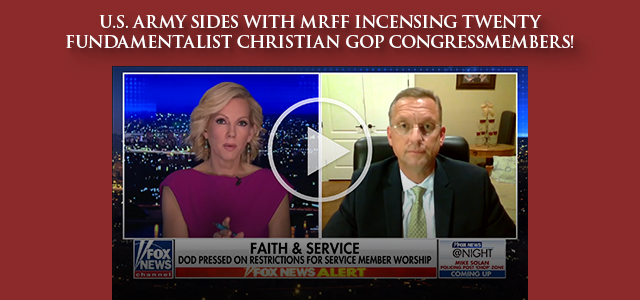 """Is hell freezing over? The U.S. Army just backed the recent successes of the Military Religious Freedom Foundation' (MRFF) in defiance of aggressive complaints from twenty fundamentalist..."" Click to read"