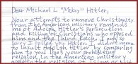 """Look what just came in. This kind of hate comes in MRFF's snail mail on a regular basis. This hater compares Mikey Weinstein to Hitler, and signs their letter """"Joe Biden""""! Click image to enlarge and read"""