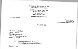 Randy Mathis 3-30-21 Letter to Stephanie Taub