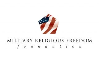 Military Religions Freedom Foundation Logo with American Flag in the shape of a pentagon