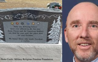 Monument with religious inscription next to picture of Barry Fagin. Photo credit Military Religious Freedom Foundation