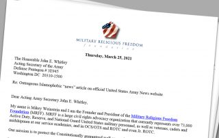 Demand MRFF Letter to John E. Whitley Acting Secretary of the U.S. Army