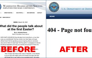 Before and after screen shots showing that anti-Semitic article was removed