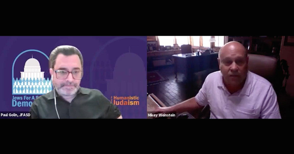 Screen shot of Mikey Weinstein on Jews for a Secular Democracy podcast