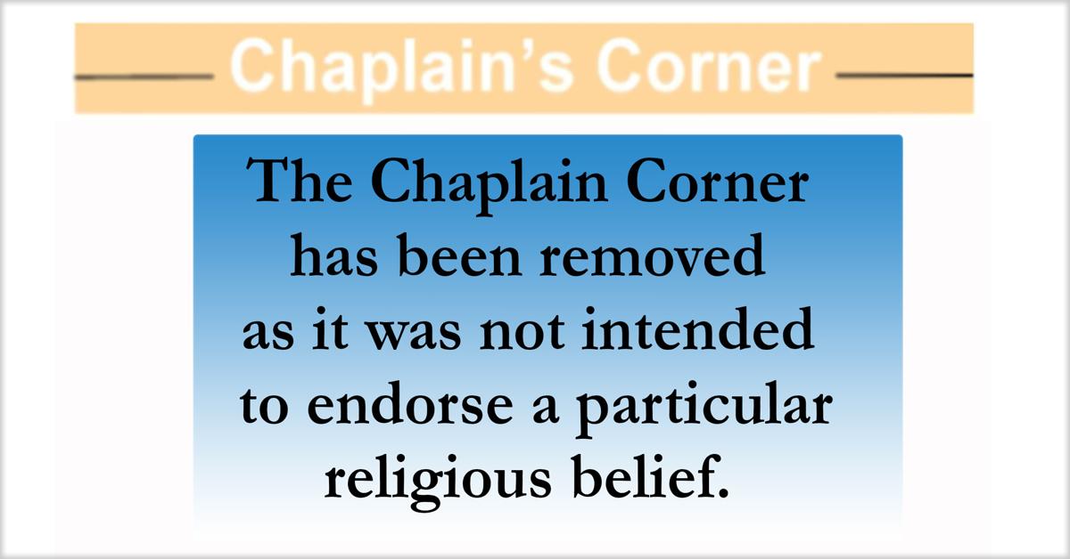 Screenshot of Joint Base Myer Henderson post newspaper The Pentagram after removal of Chaplain's Corner proselytizing article