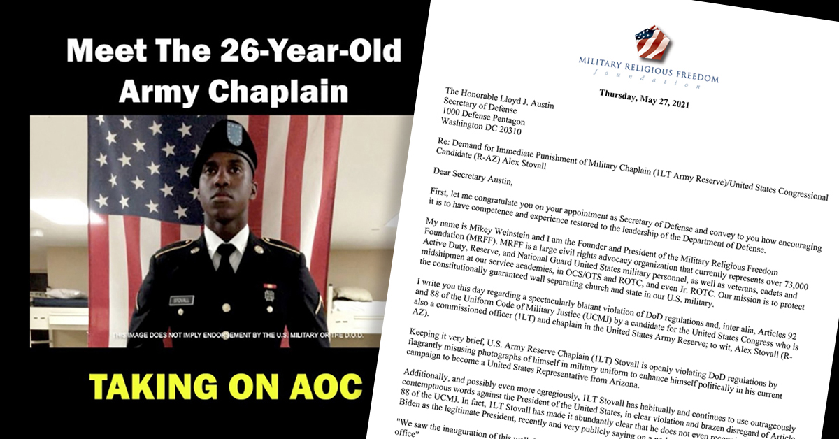 Chaplain Stovall campaign ad side by side with MRFF letter to Secretary of Defense