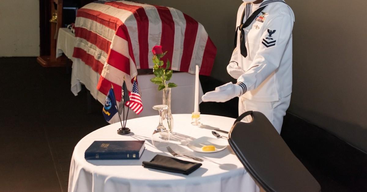 POW/MIA table with Bible at Naval Air Facility Atsugi