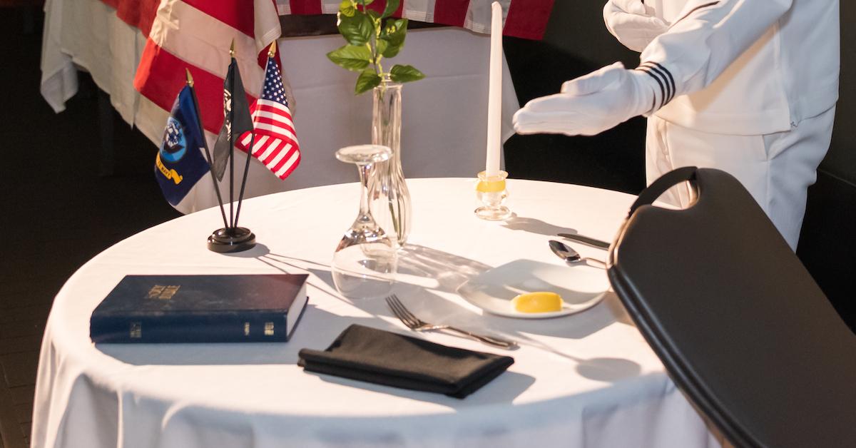 POW MIA table with Bible at Naval Air Facility Atsugi
