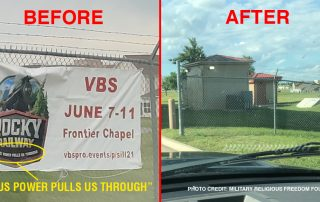 Before and after photos of sign on fence and fence with sign removed