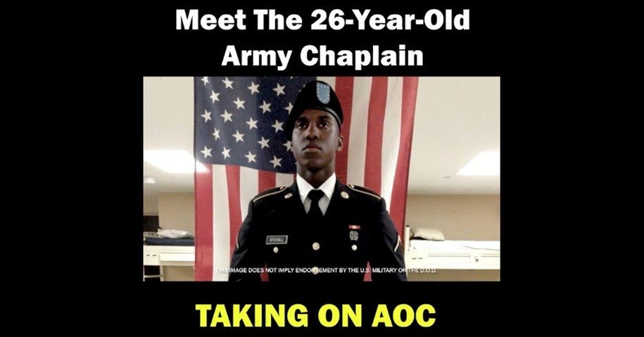 Screenshot of Alex Stovall campaign video showing Stovall in uniform with the text Meet the 26-year-old Army chaplain taking on AOC