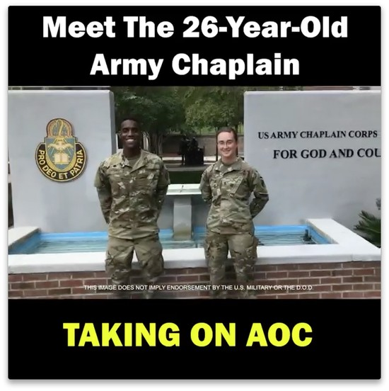 Screenshot from Stovall campaign video showing Stovall in uniform in front of the Army chaplain school with the text Meet the 26-year-old Army chaplain taking on AOC