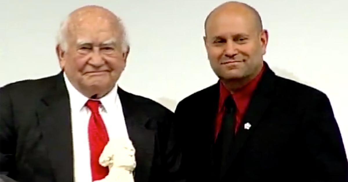 Ed Asner Receiving MRFF's 2010 Thomas Jefferson Award from Mikey Weinstein