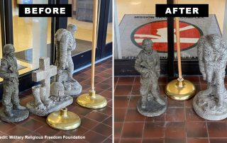 Before and after images showing statue grouping with cross sculpture and with cross sculpture removed