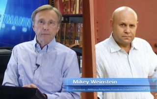 Screenshot from Them Hartmann program of Thome Hartman and Mikey Weinstein side by side