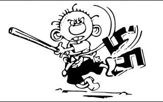 Cartoon of man smashing swastika with baseball bat