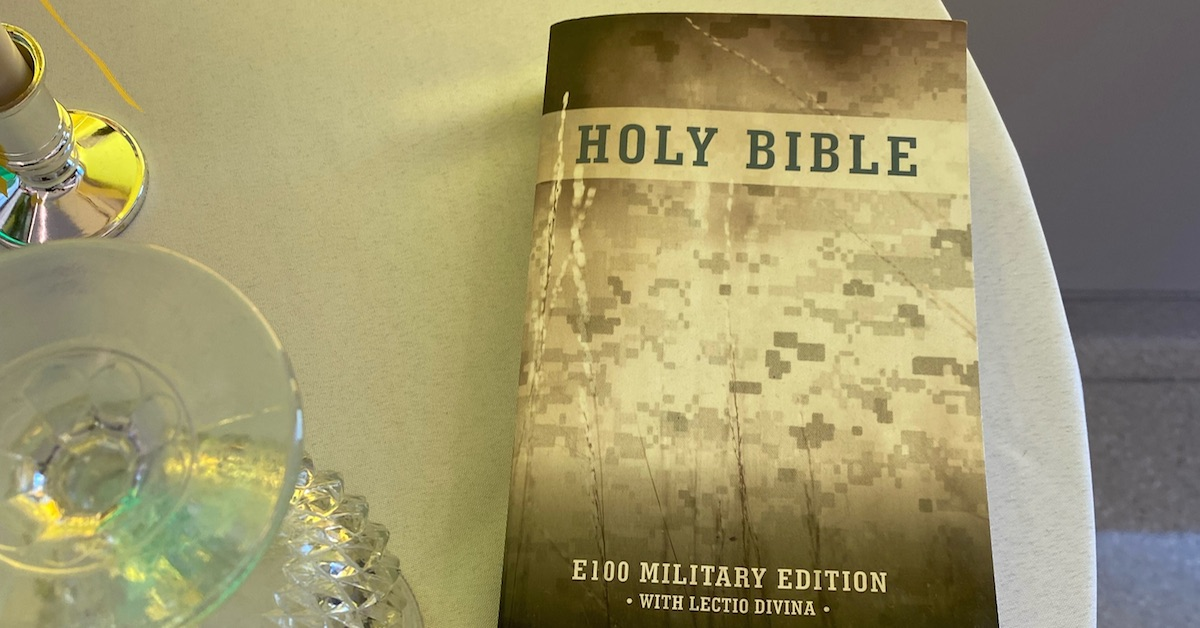 Close up of military Bible on POW MIA table